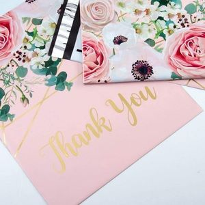 Pink Thank You poly mailers